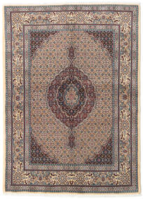 Moud Rug 146X200 Authentic  Oriental Handknotted Light Grey/Light Brown (Wool/Silk, Persia/Iran)