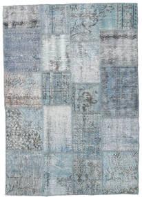 Patchwork Rug 136X195 Authentic  Modern Handknotted Light Grey/Light Blue (Wool, Turkey)