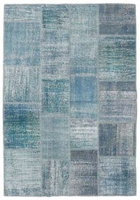 Patchwork Rug 140X202 Authentic  Modern Handknotted Light Blue/Blue (Wool, Turkey)
