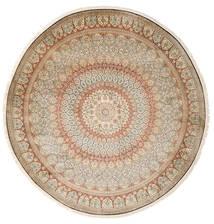Kashmir Pure Silk Rug Ø 248 Authentic Oriental Handknotted Round Beige/Light Grey (Silk, India)