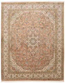 Kashmir Pure Silk Rug 204X257 Authentic  Oriental Handknotted Brown/Light Brown (Silk, India)