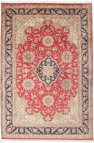 Kashmir Pure Silk Rug 182X270 Authentic  Oriental Handknotted Dark Brown/Rust Red (Silk, India)