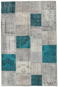 Patchwork Rug 197X303 Authentic  Modern Handknotted Light Grey/Dark Turquoise   (Wool, Turkey)