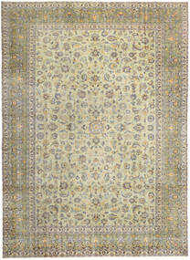Keshan Patina Rug 293X405 Authentic  Oriental Handknotted Light Grey/Dark Beige/Olive Green Large (Wool, Persia/Iran)