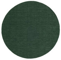 Kilim Loom - Forest Green Rug Ø 300 Authentic  Modern Handwoven Round Dark Green Large (Wool, India)