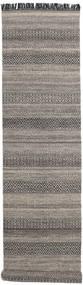 Hedda - Brown Rug 80X350 Authentic Modern Handwoven Hallway Runner Light Grey/Dark Grey (Wool, India)