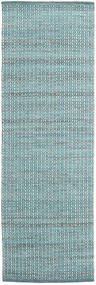 Alva - Turquoise/White Rug 80X250 Authentic  Modern Handwoven Hallway Runner  Light Blue/Dark Turquoise   (Wool, India)