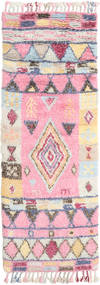 Fanny Rug 80X250 Authentic Modern Handknotted Hallway Runner Light Pink/Light Grey (Wool, India)