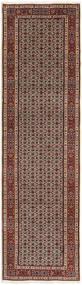 Moud Rug 80X296 Authentic  Oriental Handknotted Hallway Runner  Dark Red/Light Grey (Wool/Silk, Persia/Iran)