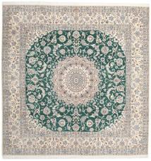 Nain 9La Rug 302X304 Authentic  Oriental Handknotted Square Light Grey/Beige Large (Wool/Silk, Persia/Iran)
