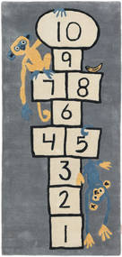 Hopscotch - Grey Rug 80X180 Modern Hallway Runner Blue/Dark Grey (Wool, India)