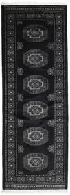 Pakistan Bokhara 3Ply Rug 81X229 Authentic  Oriental Handknotted Hallway Runner  Black/Dark Grey (Wool, Pakistan)