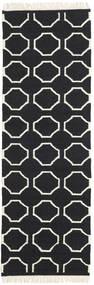 London - Black/Off White Rug 80X250 Authentic  Modern Handwoven Hallway Runner  Black/Beige (Wool, India)