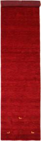 Gabbeh Loom Two Lines - Red Rug 80X350 Modern Hallway Runner  Crimson Red/Dark Red (Wool, India)