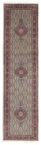Moud Rug 79X298 Authentic  Oriental Handknotted Hallway Runner  Light Grey/Dark Brown (Wool/Silk, Persia/Iran)