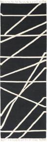Cross Lines - Black/Off White Rug 80X250 Authentic  Modern Handwoven Hallway Runner  Dark Grey/Beige (Wool, India)