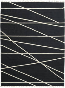 Cross Lines - Black/Off White Rug 250X350 Authentic  Modern Handwoven Black Large (Wool, India)