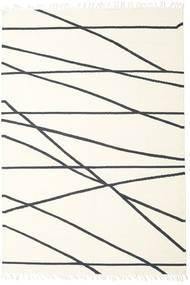 Cross Lines - Off White/Black Rug 200X300 Authentic  Modern Handwoven Beige/White/Creme (Wool, India)