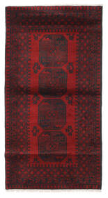 Afghan Rug 103X193 Authentic  Oriental Handknotted Dark Red/Black (Wool, Afghanistan)