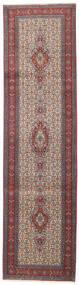 Moud Rug 77X288 Authentic  Oriental Handknotted Hallway Runner  Dark Red/Dark Brown (Wool/Silk, Persia/Iran)