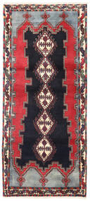Afshar/Sirjan Rug 90X200 Authentic  Oriental Handknotted Hallway Runner  Black/Dark Red (Wool, Persia/Iran)