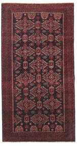 Baluch Patina Rug 95X177 Authentic Oriental Handknotted Dark Red/Black/Dark Brown (Wool, Persia/Iran)