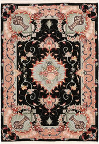 Tabriz 50 Raj With Silk Rug 67X95 Authentic  Oriental Handknotted Black/Light Grey (Wool/Silk, Persia/Iran)