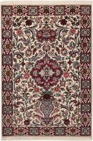 Isfahan Silk Warp Rug 83X117 Authentic  Oriental Handknotted Dark Brown/Light Grey (Wool/Silk, Persia/Iran)