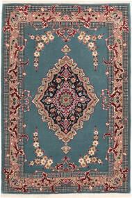 Isfahan Silk Warp Rug 85X123 Authentic  Oriental Handknotted Turquoise Blue/Black (Wool/Silk, Persia/Iran)