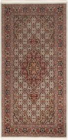 Tabriz 50 Raj Rug 67X140 Authentic  Oriental Handknotted Dark Brown/Dark Red (Wool/Silk, Persia/Iran)