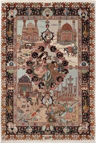 Tabriz 50 Raj With Silk Rug 100X148 Authentic  Oriental Handknotted Dark Brown/Light Grey (Wool/Silk, Persia/Iran)