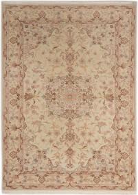 Tabriz 50 Raj With Silk Rug 107X150 Authentic  Oriental Handknotted Brown/Light Brown/Dark Beige (Wool/Silk, Persia/Iran)