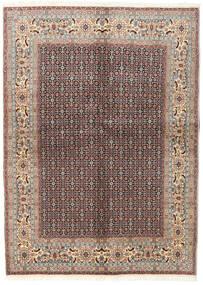 Moud Rug 142X198 Authentic  Oriental Handknotted Light Grey/Dark Red (Wool/Silk, Persia/Iran)