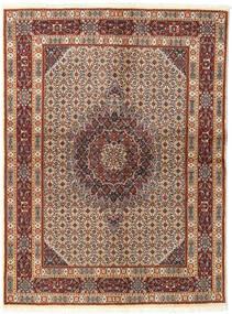 Moud Rug 142X193 Authentic  Oriental Handknotted Dark Brown/Light Brown (Wool/Silk, Persia/Iran)