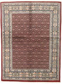 Moud Rug 147X195 Authentic  Oriental Handknotted Light Grey/Dark Red (Wool/Silk, Persia/Iran)