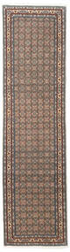 Moud Rug 74X280 Authentic  Oriental Handknotted Hallway Runner  Light Grey/Dark Brown (Wool/Silk, Persia/Iran)