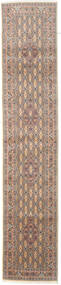 Moud Rug 77X387 Authentic Oriental Handknotted Hallway Runner Brown/Beige (Wool/Silk, Persia/Iran)