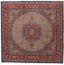 Moud Rug 200X200 Authentic  Oriental Handknotted Square Dark Brown/Dark Red (Wool/Silk, Persia/Iran)