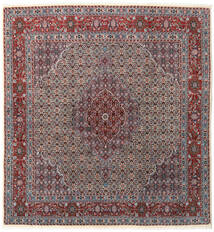 Moud Rug 195X210 Authentic  Oriental Handknotted Square Dark Brown/Dark Red (Wool/Silk, Persia/Iran)