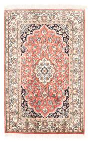 Kashmir Pure Silk Rug 63X97 Authentic Oriental Handknotted Beige/Dark Beige (Silk, India)