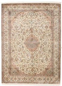 Kashmir Pure Silk Rug 160X217 Authentic  Oriental Handknotted Light Brown/White/Creme (Silk, India)