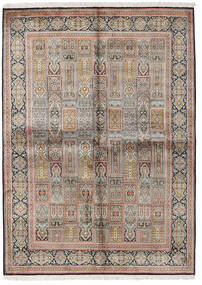 Kashmir Pure Silk Rug 155X214 Authentic Oriental Handknotted Light Grey/Brown (Silk, India)