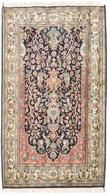 Kashmir Pure Silk Rug 83X126 Authentic  Oriental Handknotted Beige/Dark Purple (Silk, India)