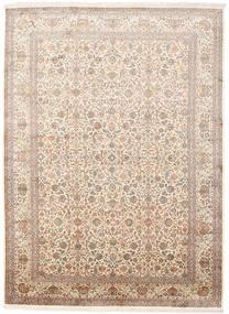 Kashmir Pure Silk Rug 246X336 Authentic  Oriental Handknotted Beige/Brown (Silk, India)