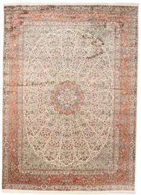 Kashmir Pure Silk Rug 251X351 Authentic  Oriental Handknotted Light Grey/Brown Large (Silk, India)