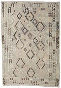 Kilim Afghan Old Style Rug 205X296 Authentic  Oriental Handwoven Light Grey/Dark Brown (Wool, Afghanistan)