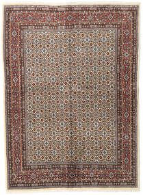 Moud Rug 143X197 Authentic  Oriental Handknotted Light Grey/Dark Brown (Wool/Silk, Persia/Iran)