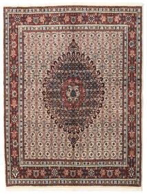 Moud Rug 148X195 Authentic  Oriental Handknotted Light Grey/Dark Brown (Wool/Silk, Persia/Iran)