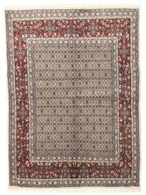 Moud Rug 146X195 Authentic  Oriental Handknotted Light Grey/Beige (Wool/Silk, Persia/Iran)