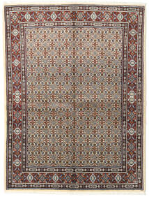 Moud Rug 150X197 Authentic  Oriental Handknotted Light Grey/Dark Brown (Wool/Silk, Persia/Iran)